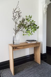 Console/hallway table in Messmate timber with drawers and finger joints