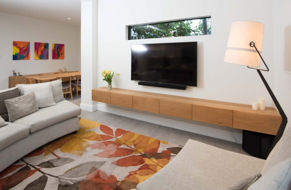 timber floating tv unit