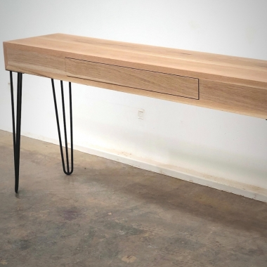 Lanus console table in American Oak timber and steel hairpin legs